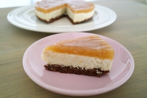 zuivelvrije peren cheese cake