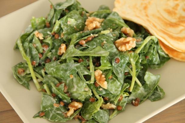 linzen-spinazie salade met kokoswraps (5)