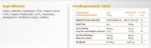 Ingrediënten en voedingswaarde zoals vermeld op http://www.ferrero.nl/nutella